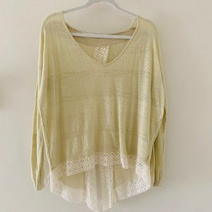 FP lace open back sweater
